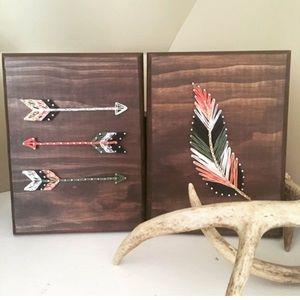 Other - String art wood feather set Boho Decor